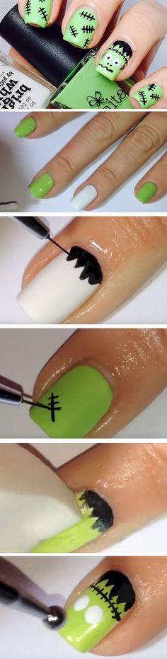 Frankenstein | 23 Easy Halloween Nail Art Ideas for Teens that are totally spooktastic!