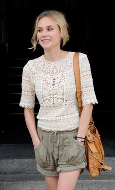 Dressed up casual: Crochet top & slouchy shorts   Diane Kruger - Fashion Show Arrival 2009