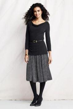Women's Pattern Knit Matte Jersey Skirt from Lands' End -- love the polka dots!
