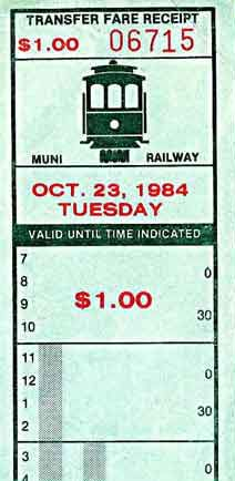 Regular fare receipt/transfer from San Francisco Municipal Railway issued on cable cars (1984)