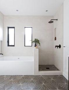 Black fixtures in the bathroom + patterned floor tile in hexagon shape + windows. Black fixtures i Modern Bathroom Tile, Bathroom Design Small, Bathroom Layout, Bathroom Interior Design, Bathroom Tub Shower, Bathroom With Window, Small Bathroom With Bath, Bathroom With Shower And Bath, Hexagon Tile Bathroom Floor