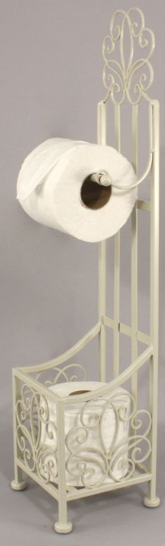 FREE STANDING METAL TOILET ROLL HOLDER WITH STORAGE French Chic Shabby CREAM