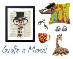"""Giraffe-a-Mania"" by selenastagg on Polyvore featuring interior, interiors, interior design, home, home decor, interior decorating and giraffe"