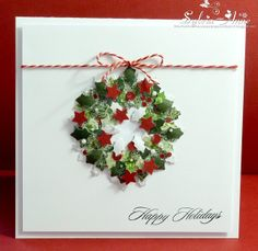 """Holly leaf wreath (punched circle from CS, layer holly leaves punched from DP & CS, red """"berries"""" & stars, a few white pearls & glitter)"""