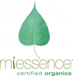 Miessence certified organics, blue-green pictorial logo, realistic