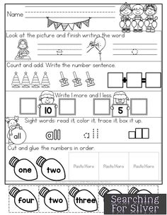 December morning work for Kindergarten! CVC words, addition, sight words and more!