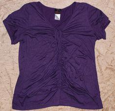 Torrid 3X Sexy Plus Size Sparkly Purple Tie Cinch Front Blouse Shirt Top