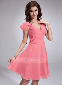 Bridesmaid Dresses - $112.99 - A-Line/Princess V-neck Knee-Length Chiffon Bridesmaid Dress With Ruffle (022018791) http://jjshouse.com/A-Line-Princess-V-Neck-Knee-Length-Chiffon-Bridesmaid-Dress-With-Ruffle-022018791-g18791?ver=xdegc7h0