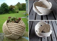 Macetas decoradas: ideas originales hechas a mano Crafts To Sell, Diy And Crafts, Macrame Chairs, Diy Storage Boxes, Rope Art, Rope Crafts, Crochet Home Decor, Diy Couch, Recycled Art