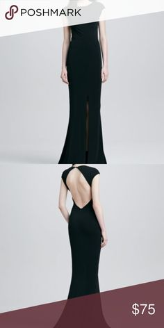 Backless Rachel Zoe Gown with Front Slit Black Rachel Zoe Gown. Super comfortable material with stretch. Size 0. Rachel Zoe Dresses Backless