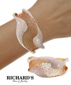 Diamond Fold Weave Bangle in 18K Rose Gold