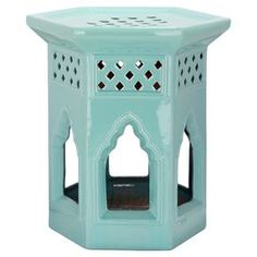 """Ceramic garden stool with Moroccan arch cut-outs.   Product: Garden stoolConstruction Material: CeramicColor: Light blueFeatures: Will enhance any roomDimensions: 17.75 H x 16 W x 16"""" D"""