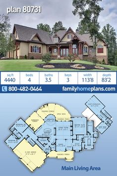 This luxury house plan offers a large and amazing floor plan with four bedrooms, three full baths and a half bath, a spacious three car garage and a gourmet kitchen. A large floor plan and open layout Bungalow House Plans, Craftsman House Plans, House Floor Plans, Craftsman Farmhouse, Craftsman Interior, Luxury House Plans, Modern House Plans, Small House Plans, Mountain House Plans