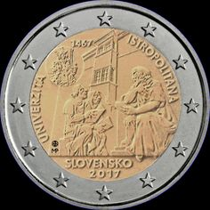 2€ Eslovaquia 2017 -Universidad- Piece Euro, Euro Coins, Coins Worth Money, Coin Worth, Commemorative Coins, World Coins, European History, Coin Collecting, Collection