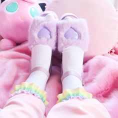 6229a5791c9e24 The lovely Synthpop Sammy ( SynthpopCircus) in our pastel rainbow socks!   kawaii