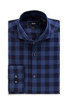 'Dwayne'   Slim Fit, Small Collar Cotton Plaid Dress Shirt