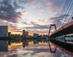 Nieuw in mijn Werk aan de Muur shop: Willemsbrug Rotterdam at sunset