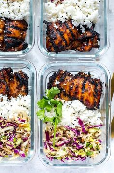 This Korean chicken lunch bowl topped with slaw and jasmine rice. 25 Delicious M… This Korean chicken lunch bowl topped with slaw and jasmine rice. 25 Delicious Meal Prep Ideas That'll Save You Big Bucks In The Long Run Prepped Lunches, Kid Lunches, Kid Snacks, Lunch Snacks, School Lunches, Clean Eating Prep Meals, Diet Prep Meals, Clean Eating Lunches, Fit Meals