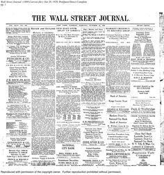 Black Monday: WSJ front page, Oct. 29, 1929