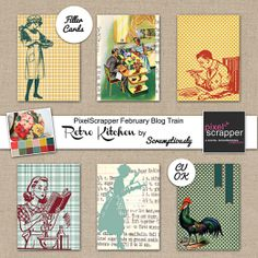 """Retro Kitchen"" Journal Cards (Vintage Graphics) / Free Printable by Scrumptiously"