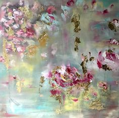 Flooded Unseen Paths, fine art, oil paintings with gold leafing detail, roses, floral, abstract art amyabig.com