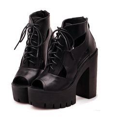 leather chunky heel open toe Boots - over the knee high heel boots leather, fringe open toe booties