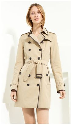Burberry London Leather Piped Belted Gabardine Trench  ($1.595, NORDSTROM)