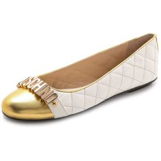 Moschino Ballerina Quilted Flats - Cream/Gold ($276) ❤ liked on Polyvore featuring shoes, flats, moschino, sapatos, ballet shoes, ballerina flat shoes, cream flats, gold flat shoes and metallic flats
