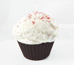 Jumbo Peppermint Bark Cupcake Candle