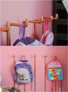 copper piping as coat hooks, via Vintage Revivals