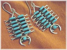 Sleeping Beauty Turquoise ~ Zuni Sterling Silver Squash Blossom Petit Point Earrings - Arizona Southwest Estate Treasure - FREE SHIPPING by FindMeTreasures on Etsy