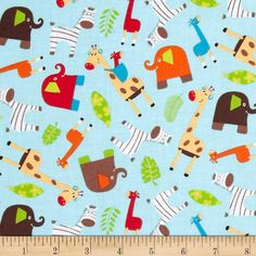 Monkey Mates Animal Toss Blue from @fabricdotcom  Designed by Laura Berringer for Marcus Fabrics, this cotton print is perfect for quilting, apparel and home decor accents.  Colors include white, yellow, orange, red, shades of blue, shades of brown and shades of green
