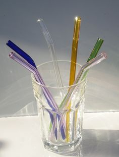 Glass straws. What an amazing idea! No more plastic leeching into your drink and it's much more eco-friendly