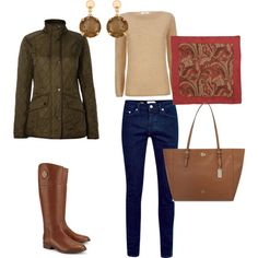 A fashion look from August 2015 by celestebh featuring MaxMara, Barbour, Tory Burch, Coach, Sharon Mills and Lauren Ralph Lauren