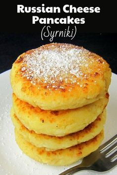 delicious, pillowy-soft, cheesy Russian cheese pancakes (Syrniki) for a delicious breakfast treat. Serve these with syrup like traditional American pancakes, or with a dollop of sour cream or Greek yogurt and a spoonful of fruit preserves. Cottage Cheese Pancakes, Pancakes And Waffles, Cottage Cheese Recipes, Tasty Pancakes, Breakfast Pancakes, Ukrainian Recipes, Russian Recipes, Russian Desserts, Brunch Recipes