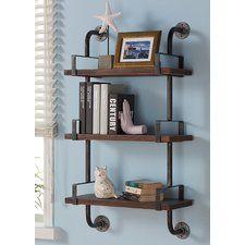 Industrial Walnut Wood Floating Wall Shelf