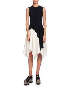 Sleeveless Colorblock Asymmetric-Hem Dress, Multi