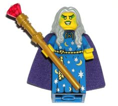 LEGO WITCH WIZARD GIRL MINIFIGURE Jewel Staff, Purple Cape, Gray Sorceress Hair #LEGO