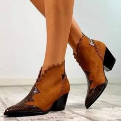 Women's Rivet Split Joint Ankle Boots Chunky Heel Boots Online store for the latest fashion & trends in women's collection. Shop affordable ladies' Dresses, Clothing, Shoes & Accessories with top quality. Ankle Boots, Heeled Boots, Women's Boots, Black Boots, High Boots, Low Heels, Wedge Heels, High Heel, Retro Stil