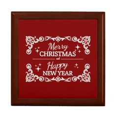 Red And White Merry Christmas And Happy New Year Gift Box - home gifts ideas decor special unique custom individual customized individualized