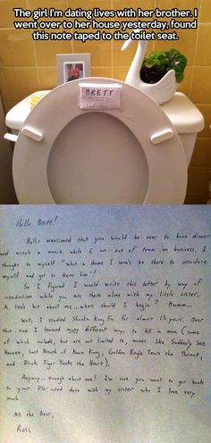 Protective brother leaves a note…. @Carly Sipherd this is something Kyle would do, it even looks like his handwriting!