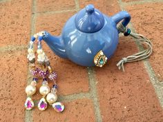 Blue Tea Pot Kitchen Decoration Hanging Garden Decor Tea | Etsy Upcycled Crafts, Repurposed, Tea Party Theme, Tea Party Decorations, Garden Decor Items, Glue Crafts, Cat Lover Gifts, Blue Beads, Decorative Items