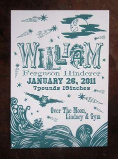 Custom Design Hand Printed Letterpress Birth Announcements Nighttime Nautical Theme