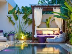 Small inground pools modern patio landscape with a pergola and outdoor furniture Small Inground Pool, Small Pools, Backyard Pool Designs, Pool Landscaping, Backyard Ideas, Backyard Gazebo, Concrete Backyard, Gazebo Canopy, Tropical Backyard