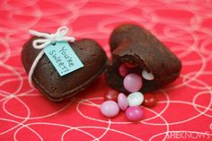 Heart-shaped brownie treasure boxes recipe.  OMG, must make for valentine's.