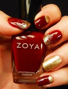 25 Cool Red Nail Polish Ideas: Red and gold nail polish