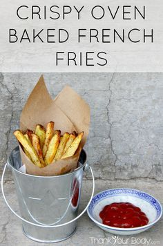 Healthy french fries? You bet! Crispy oven baked french fries...Simply organic Yukon Gold potatoes, coconut oil, and sea salt, made right at home. So good!
