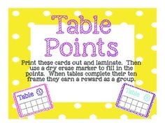 Here is a great way to keep track of table points and build teamwork within your classroom.  Print and laminate cards, then use a dry erase marker to fill in the ten frames.  Reward groups how you see fit.table points, group work, teamwork, classroom management, behavior