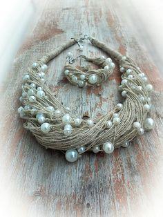 Эко-колье и браслет из натуральной льняной нити и перламутровых бусин. #льняное колье и браслет, #эко-колье и браслет, #linen necklace, #eco jewellery