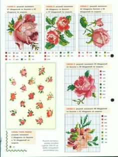 Cross-stitch More Roses. Tiny Cross Stitch, Cross Stitch Needles, Cross Stitch Borders, Cross Stitch Flowers, Cross Stitch Charts, Counted Cross Stitch Patterns, Cross Stitching, Cross Stitch Embroidery, Embroidery Patterns